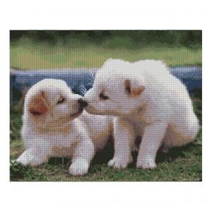 Алмазная мозаика Strateg «Белоснежные щенки», 40х50 см