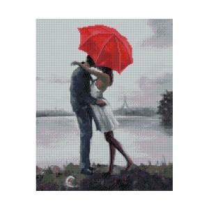 Алмазная мозаика Strateg «Влюбленная пара под зонтом», 40х50 см