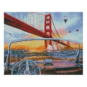 Алмазная мозаика Strateg «Вид с кабриолета на мост», 40х50 см