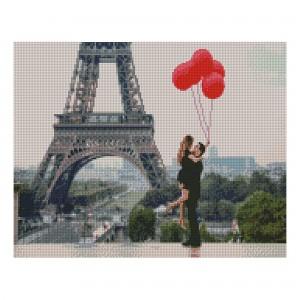 Алмазная мозаика Strateg «Влюбленные в Париже», 40х50 см
