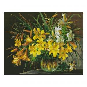 Алмазная мозаика Strateg «Букет желтых лилий», 40х50 см