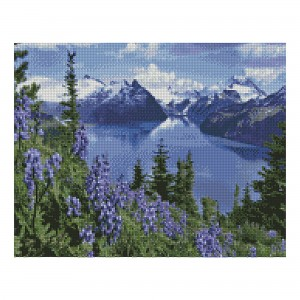 Алмазная мозаика Strateg «Альпийский горный пейзаж», 40х50 см