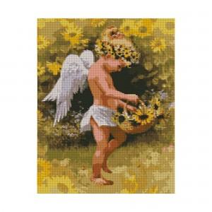 Алмазная мозаика Strateg «Ангелочек с корзиной подсолнухов», 40х50 см